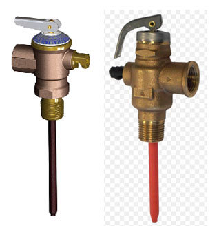Pressure and temperature relief valves on solar hot water systems