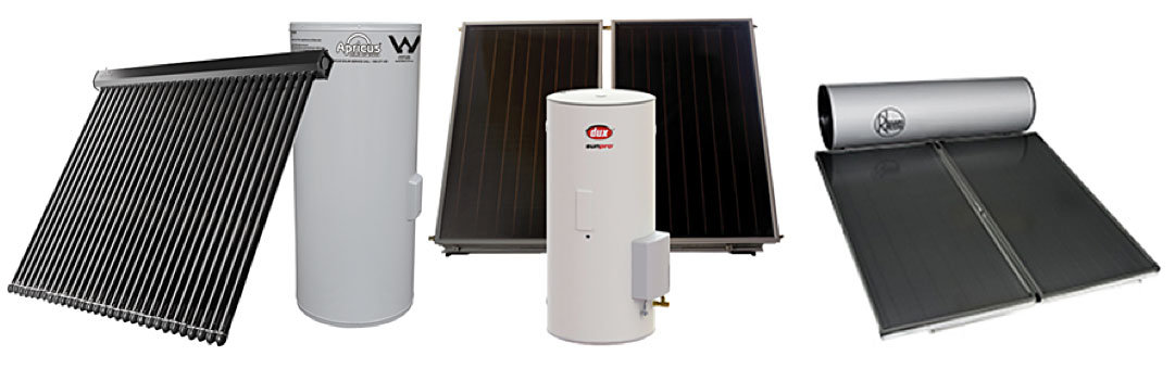 three types of solar hot water collectors