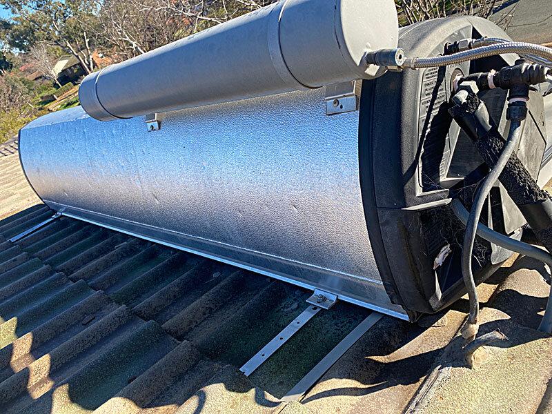 Hail damaged solarhart tank in Canberra